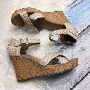 Toms cork tan wedge spring sandals size 8.5